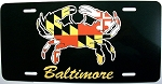 Baltimore Maryland Crab with Flag Design License Plate