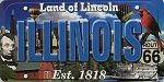 Illinois The Land of Lincoln License Plate Souvenir Fridge Magnet