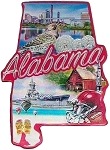 Alabama State Outline Foil Fridge Magnet