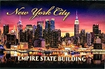 New York City Empire State Building At Night Glass Fridge Magnet