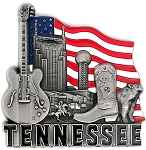 Tennessee with American Flag Metal Fridge Magnet
