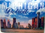 Detroit Michigan Skyline 3D Postcard