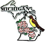 Michigan State Outline with American Robin and Flowers Fridge Magnet