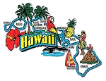 Hawaii Jumbo Map Fridge Magnet