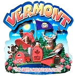 Vermont the Green Mountain State Artwood Montage Fridge Magnet