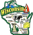 Wisconsin Jumbo State Map Fridge Magnet