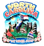 North Carolina The Tarheel State Artwood Montage Fridge Magnet