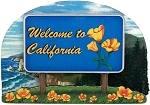 California State Welcome Sign Artwood Fridge Magnet