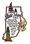 Rhode Island the Ocean State Outline Montage Fridge Magnet