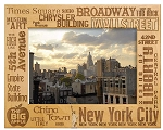 New York City Key Places Laser Engraved Wood Picture Frame