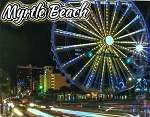 Myrtle Beach Skywheel Night Scene Highlight Fridge Magnet