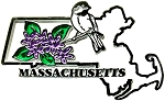 Massachusetts State Outline with Chickadee and Flowers Fridge Magnet