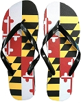 Maryland Flag Design Flip Flops Large Size 10-11