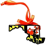 Maryland State Shaped Flag Design Metal Christmas Tree Ornament