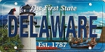 Delaware The First State License Plate Souvenir Fridge Magnet