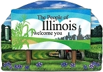 Illinois State Welcome Sign Artwood Magnet