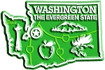 Washington the Evergreen State Map Fridge Magnet