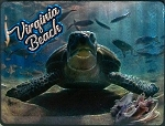 Virginia Beach with Sea Turtle Foil Fridge Magnet
