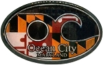 Ocean City Maryland Flag Oval Artwood Fridge Magnet
