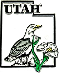 Utah State Outline with California Gull Fridge Magnet