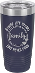 Family Where Life Begins Love Never Ends Stainless Steel Insulated Tumbler with Lid 20 Oz.