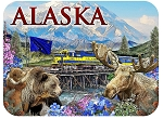 Alaska with Train and Mountainscape Fridge Magnet