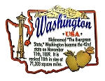Washington the Evergreen State Outline Montage Fridge Magnet