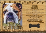 British Bulldog Engraved Wood Picture Frame Magnet