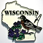 Wisconsin State Outline with American Robin and Flowers Fridge Magnet Design 1