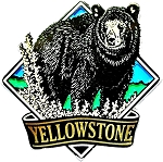 Yellowstone National Park with Black Bear Fridge Magnet
