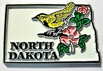 North Dakota State Outline with Western Meadowlark and Flowers Fridge Magnet