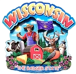 Wisconsin the Badger State Artwood Montage Fridge Magnet