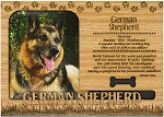 German Shepherd Engraved Wood Picture Frame Magnet