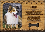 Collie Engraved Wood Picture Frame Magnet