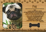 Pug Laser Engraved Wood Picture Frame Magnet