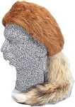 Daniel Boone Red Fox Fur Hat with Real Fox Tail