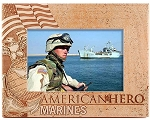 Marines American Hero Laser Engraved Wood Picture Frame