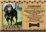 Coonhound Engraved Wood Picture Frame Magnet