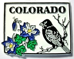 Colorado State Outline with Lark Bunting and Flowers Fridge Magnet Design 1