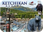 Ketchikan Alaska Wildlife and Plane Fridge Magnet