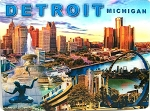 Detroit Michigan Montage 3D Postcard