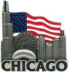 Chicago Illinois with American Flag Metal Fridge Magnet
