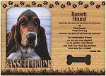 Bassett Hound Engraved Wood Picture Frame Magnet