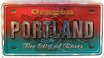 Portland Oregon The City of Roses Foil Panoramic Dual Sided Fridge Magnet