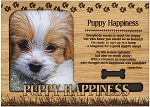 Puppy Happiness Engraved Wood Picture Frame Magnet