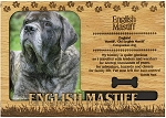 English Mastiff Engraved Wood Picture Frame Magnet
