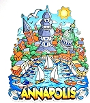 Annapolis Maryland Cartoon Skyline Artwood Fridge Magnet