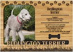 Bedlington Terrier Engraved Wood Picture Frame Magnet