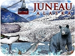 Juneau Alaska Glacier Wildlife and Mt Roberts Tramway Fridge Magnet