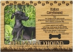 Italian Greyhound Engraved Wood Picture Frame Magnet